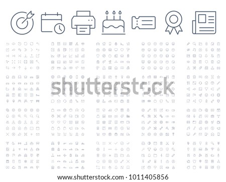 600 vector thin line mini icons set. Thin line simple outline icons. Pixel Perfect. Editable stroke.