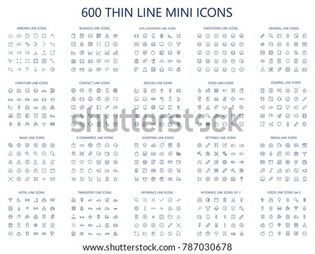 600 vector thin line mini icons set. Thin line simple outline icons, 24x24px grid. Pixel Perfect. Editable stroke. #787030678