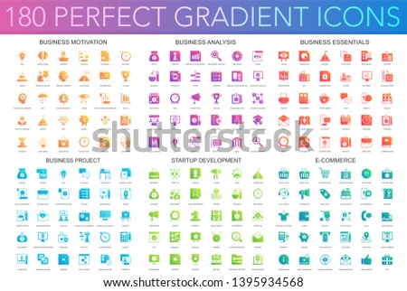 180 vector trendy perfect gradient icons set of business motivation, analysis, business essentials, business project, startup development, e commerce.