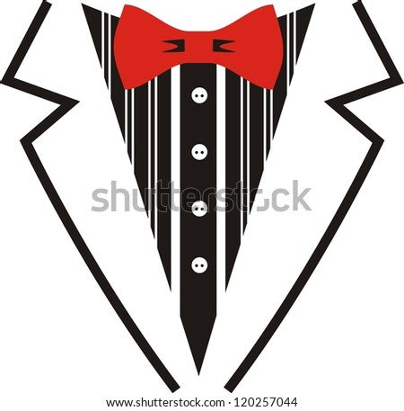 Vector tuxedo with red bow tie