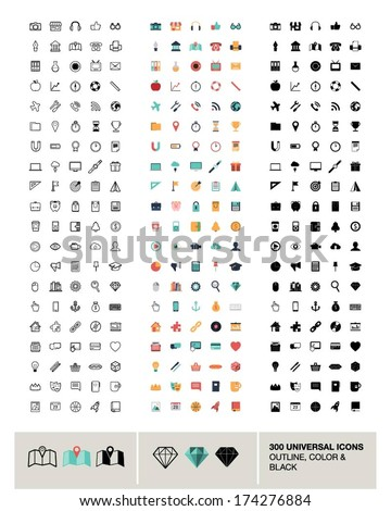 300 vector universal icons made in outline, color and black #174276884