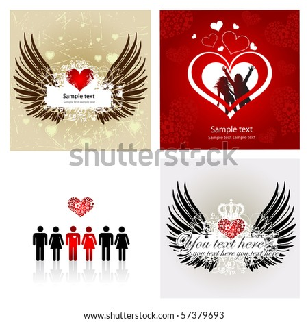 4 Vector Valentine Background with heart