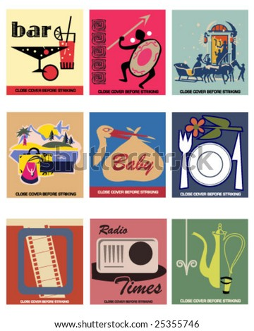 9 Vector Vintage Matchbook Covers part 2 - stock vector