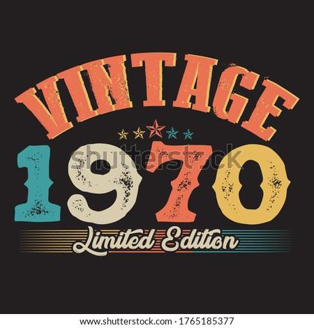1970 vector vintage tshirt design  Stockfoto ©