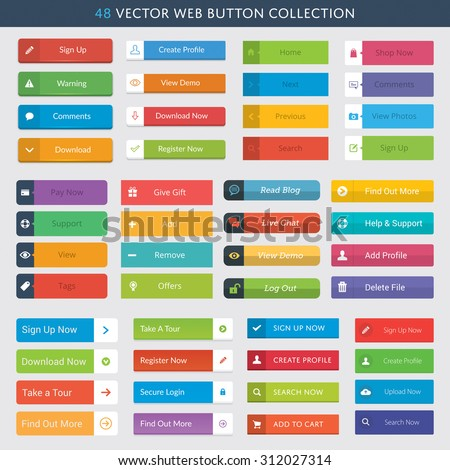 48 Vector Web Button Collection #312027314