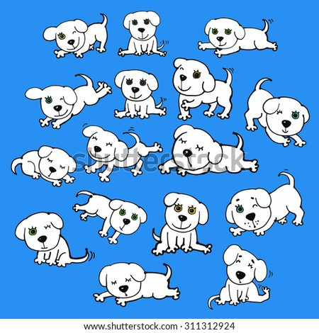 16 vector white funny dogs