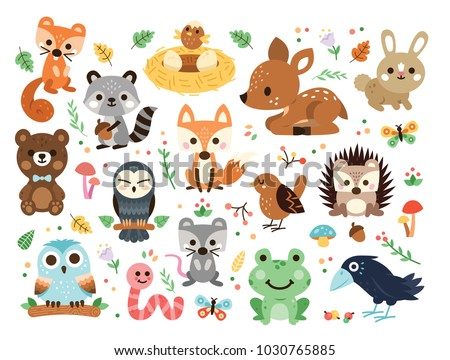 100  vector woodland animals