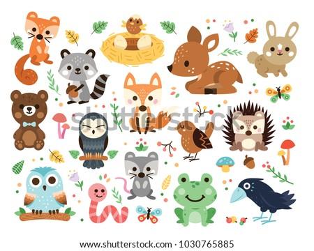 100  vector woodland animals...