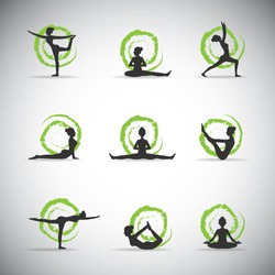 9 vector yoga pose silhouettes with green background