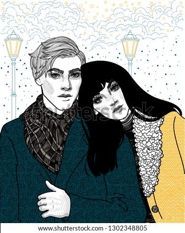 vector young couple guy and
