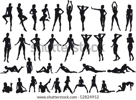 35 vectorial poses of sexy girl