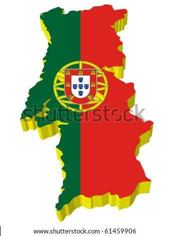 vectors 3D map of Portugal