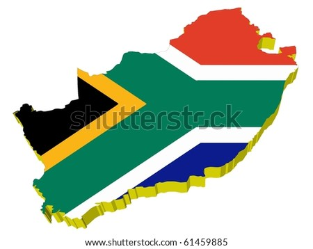 vectors 3D map of South Africa