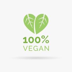 100% vegan icon design. Green vegan friendly symbol. Vegan food sign with leaves in heart shape design. Vector illustration.