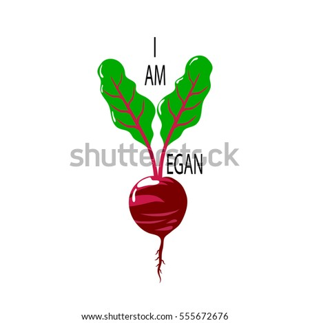 Vegan logo with beet and lettering. Vector illustration.