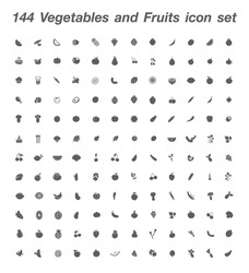 144 Vegetables and Fruits icon set vector