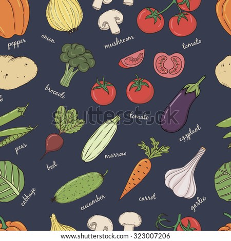 Vegetables with name seamless pattern. Useful for restaurant identity, packaging, menu design and interior decorating.