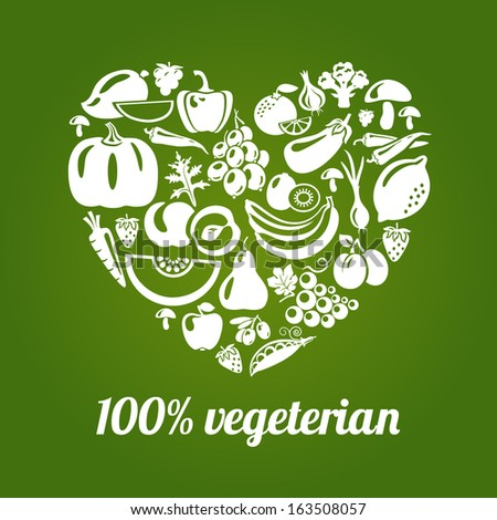 100 % vegetarian. Concept vector heart made of green peas, eggplant, potato, carrot, pumpkin, avocado, grapes, apple, peach, kiwi, lemon, chili, garlic, strawberries, broccoli, banana and others
