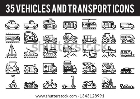 35 Vehicle and transport outline icons sign and symbols. Pixel perfect icon base on 64px