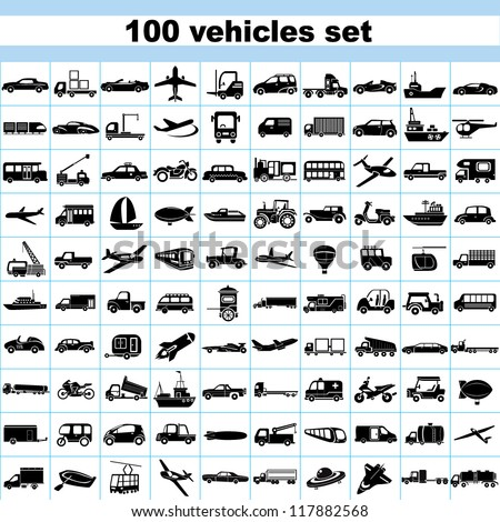 100 vehicles, set of vehicles, transportation set, car set, ship set, plane set, logistic icon - stock vector