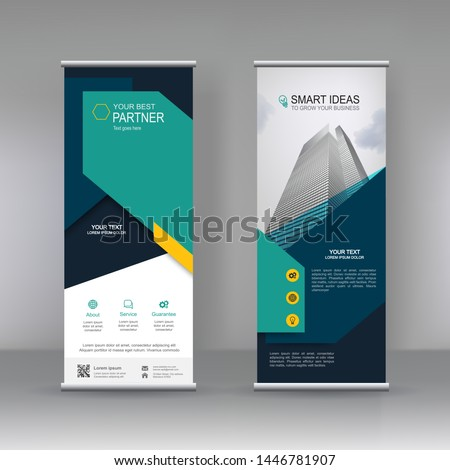Vertical banner stand template design. can use for brochure flyer, covers ,infographics ,vector abstract geometric background, modern x-banner and flag-banner advertising design element.