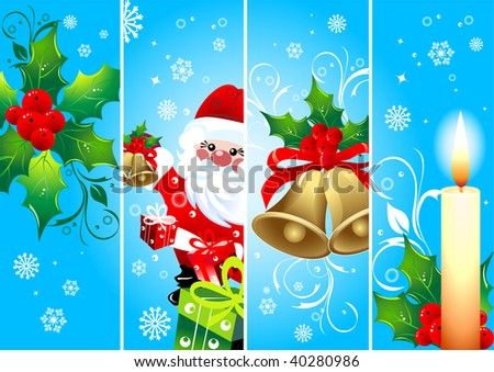 Vertical Christmas blue  banners, vector