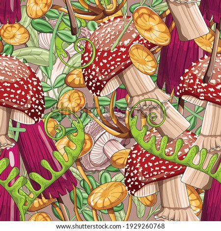Very bright seamless pattern of colored large mushrooms and leaves. Bright mushrooms. A lot of mushrooms. Fabric, wallpaper. Vector illustration.