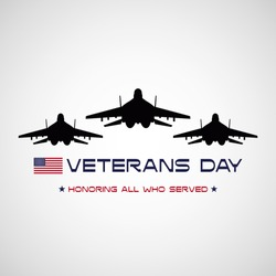 Veterans day poster with USA flag and fighter jets
