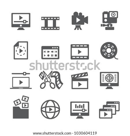 Video content icon set
