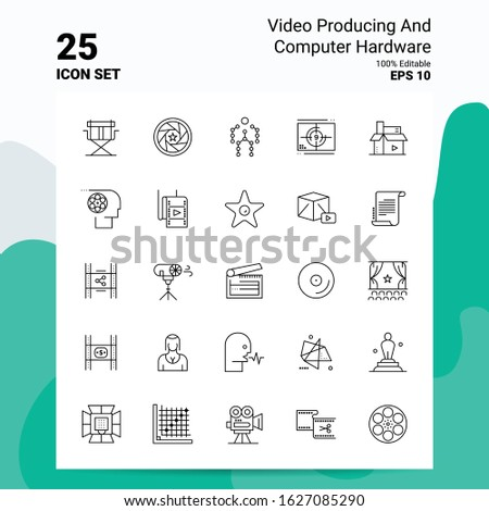 25 Video Producing And Computer Hardware Icon Set. 100% Editable EPS 10 Files. Business Logo Concept Ideas Line icon design