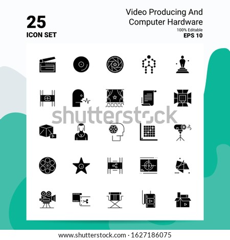 25 Video Producing And Computer Hardware Icon Set. 100% Editable EPS 10 Files. Business Logo Concept Ideas Solid Glyph icon design