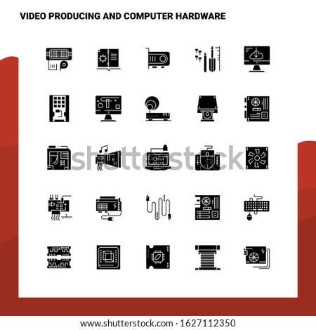25 Video Producing And Computer Hardware Icon set. Solid Glyph Icon Vector Illustration Template For Web and Mobile. Ideas for business company.