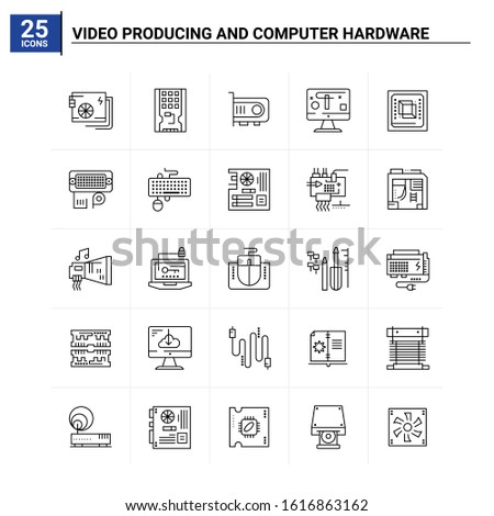 25 Video Producing And Computer Hardware icon set. vector background