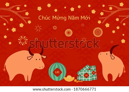 2021 Vietnamese New Year Tet illustration, cute buffalo, rice cakes, watermelon, gold, apricot flowers, Vietnamese text Happy New Year. Hand drawn vector. Flat design. Concept card, poster, banner.