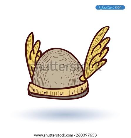 viking helmet  hand drawn