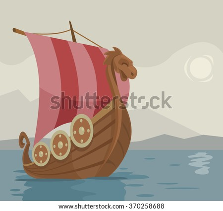 viking ship vector cartoon