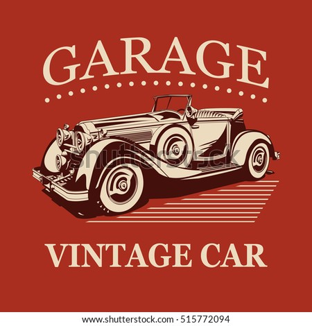Vintage car garage label.