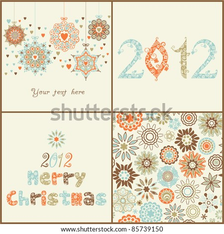 Vintage  Christmas set. of four backgrounds. Retro Christmas  elements for design:ornate  Christmas balls, 2012 ornamental font, seamless texture with snowflakes and stylized  Christmas tree.