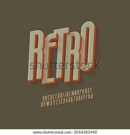Vintage 3D Sans Serif Condensed Alphabet with Rich Colors. Retro Typography. Vector Illustration.