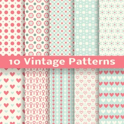 10 Vintage fashionable vector seamless patterns (tiling). Retro pink, white and blue colors. Endless texture can be used for printing onto fabric and paper, scrapbook. Heart, dot and flower shapes.