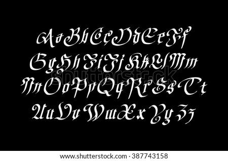 vintage gothic old style typeface on dark background  art