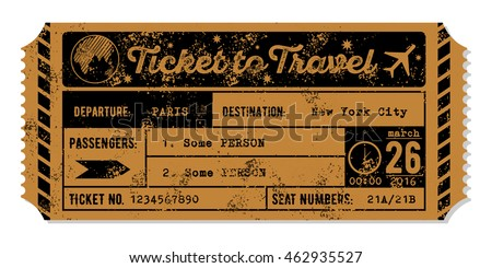 vintage grungy airplane ticket