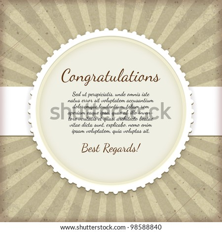 Vintage label. Congratulations card