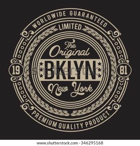 Vintage New York Brooklyn typography, t-shirt graphics, vectors