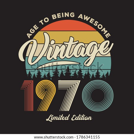 1970 vintage retro t shirt design, vector, black background Stockfoto ©