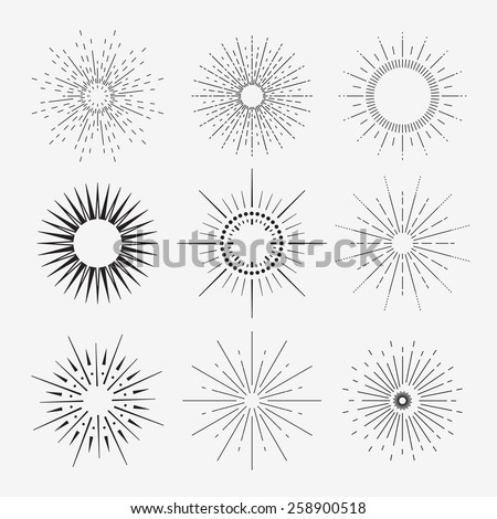 9 vintage sunbursts collection with geometric shape, light ray. Set of vintage sunbursts in different shapes.