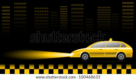Visiting card with taxi car on urban landscape