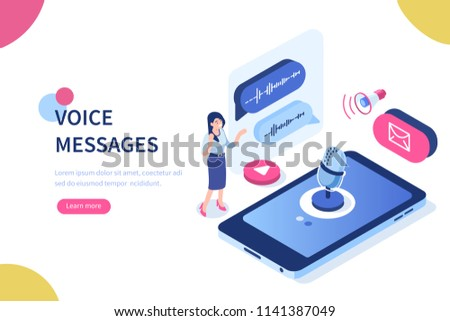 Voice messages concept with character and text place. Can use for web banner, infographics, hero images. Flat isometric vector illustration isolated on white background.