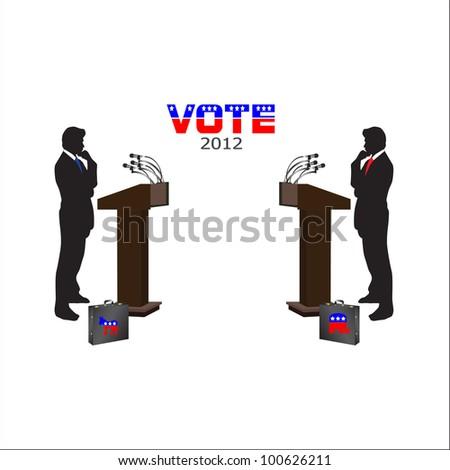 2012 Vote Debate Republican/Democrat - stock vector