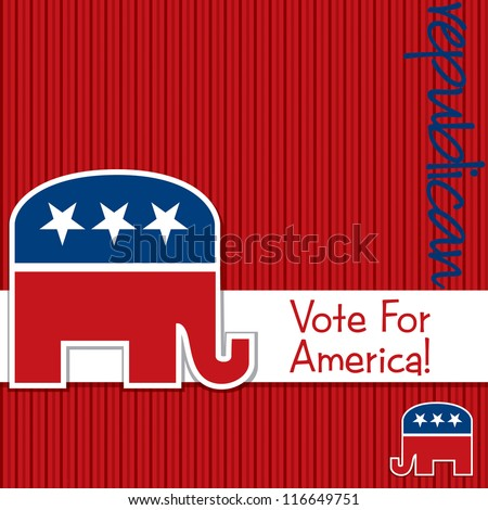 """Vote for America"" Republican election card/poster in vector format."
